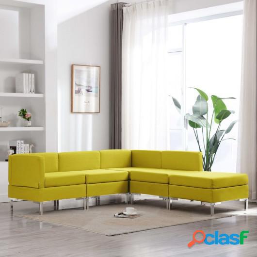 Conjunto de sofás de 5 piezas tela amarillo