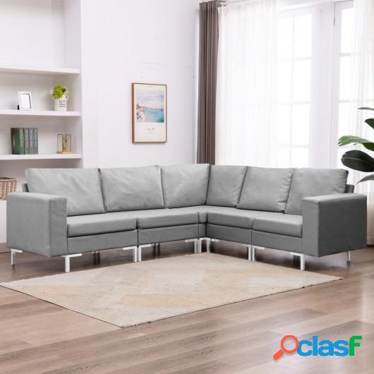 Conjunto de sofás de 5 piezas tela gris claro