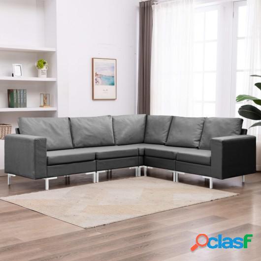 Conjunto de sofás de 5 piezas tela gris oscuro