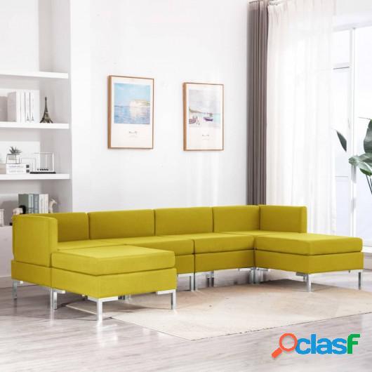 Conjunto de sofás de 6 piezas tela amarillo