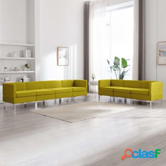 Conjunto de sofás de 7 piezas tela amarillo