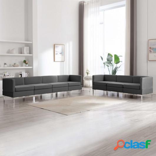 Conjunto de sofás de 7 piezas tela gris oscuro