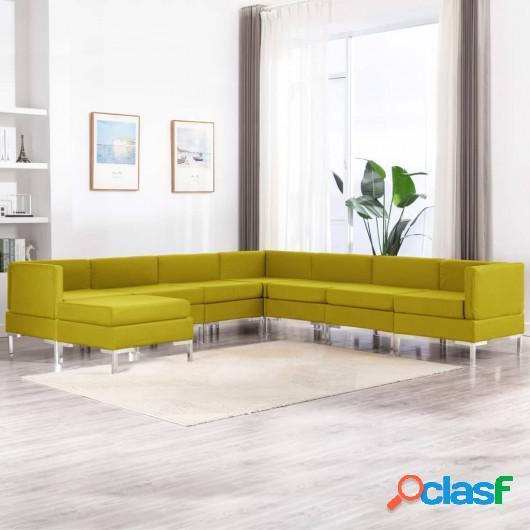 Conjunto de sofás de 8 piezas tela amarillo
