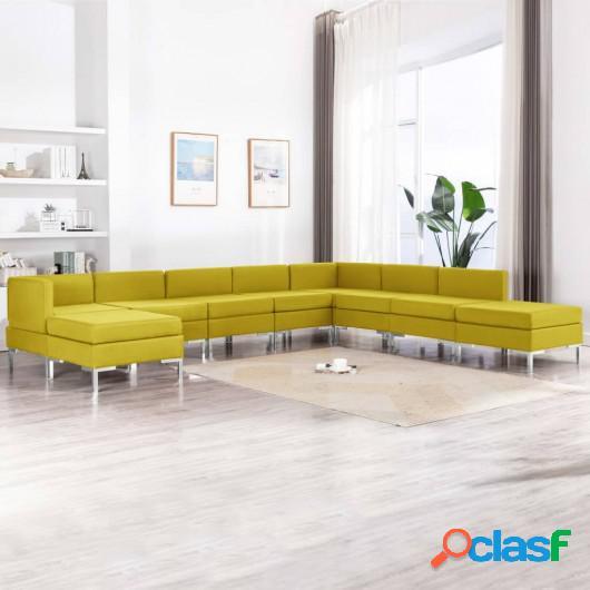Conjunto de sofás de 9 piezas tela amarillo