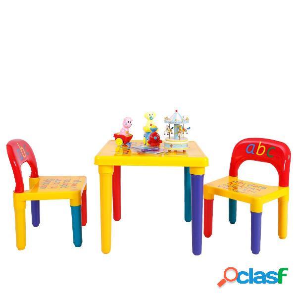 Costway Conjunto de mesa con 2 sillas para niños Conjunto
