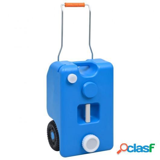 Depósito de agua con ruedas para camping azul 25 L