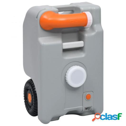 Depósito de agua con ruedas para camping gris 25 L