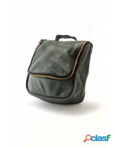 Epsilon Militar Green Leather Men's Wash Bag