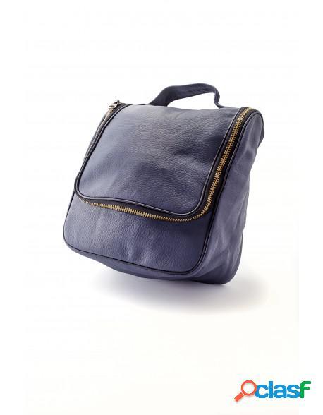 Epsilon Navy Blue Leather Men's Wash Bag