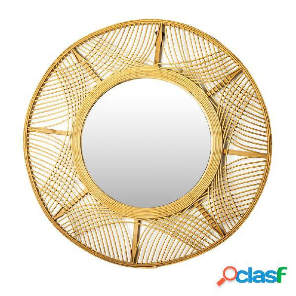 Espejo redondo de bambú grande