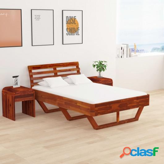 Estructura de cama de madera maciza de acacia 120x200 cm