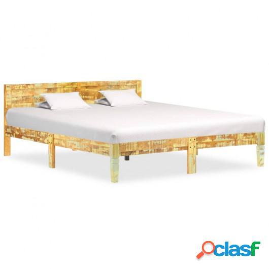 Estructura de cama de madera maciza reciclada 140x200 cm