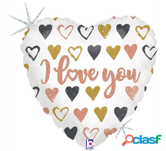 Globo Foil Metalizado forma de Corazón I Love You de 45 cm