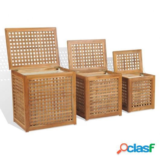 Juego de cestos para la ropa 3 unidades madera de teca