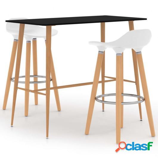 Juego de mesa alta y taburetes de bar 3 piezas blanco y