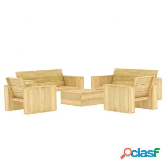 Juego de muebles de jardín 5 piezas madera de pino