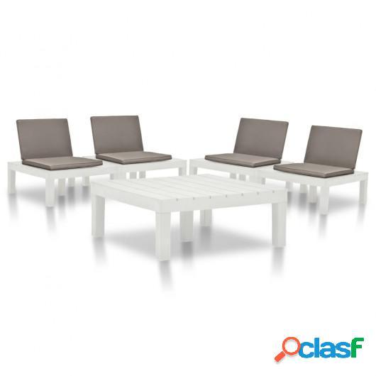 Juego de muebles de jardín 5 piezas plástico blanco