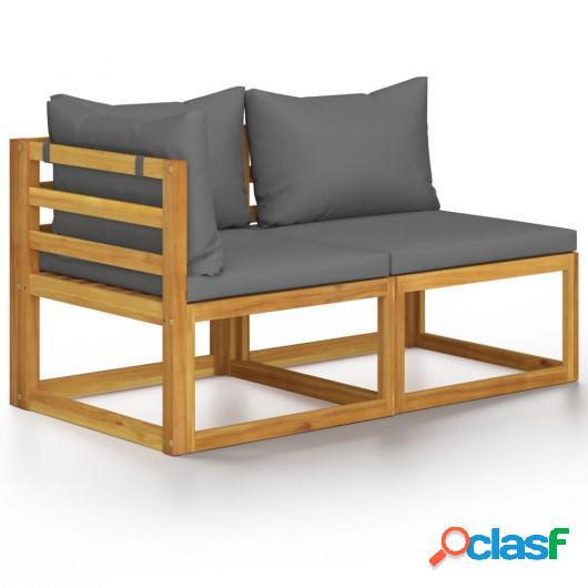 Juego de sofá 2 pzas con cojines gris oscuro madera de