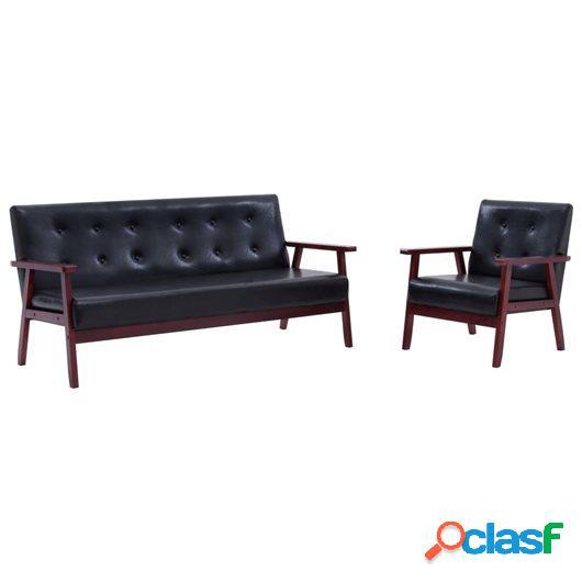 Juego de sofás 2 piezas de cuero sintético negro