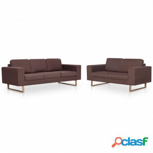 Juego de sofás 2 piezas de tela marrón