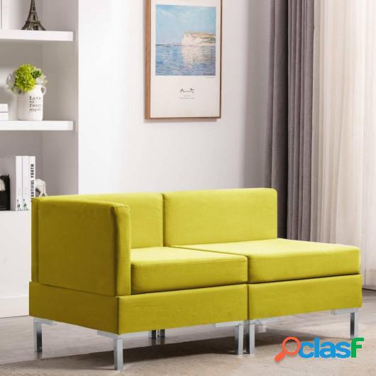 Juego de sofás 2 piezas tela amarillo