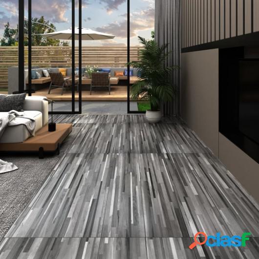 Lamas para suelo de PVC autoadhesivas gris a rayas 4,46 m²