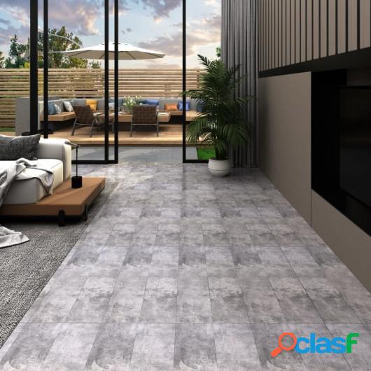 Lamas para suelo de PVC autoadhesivas marrón cemento