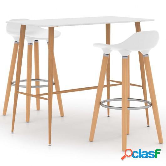Mesa alta y taburetes de bar 3 piezas blanco