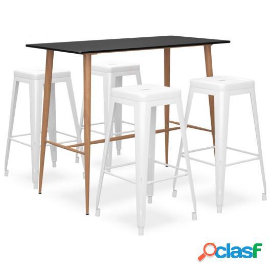 Mesa alta y taburetes de bar 5 piezas negro y blanco