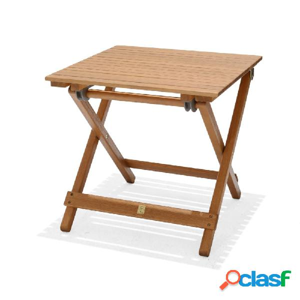Mesa auxiliar plegable de madera de eucalipto 48x48x46cm