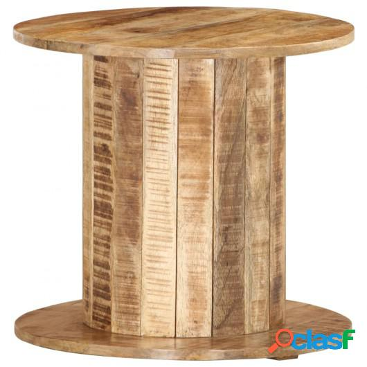 Mesa auxiliar redonda madera maciza mango sin tratar