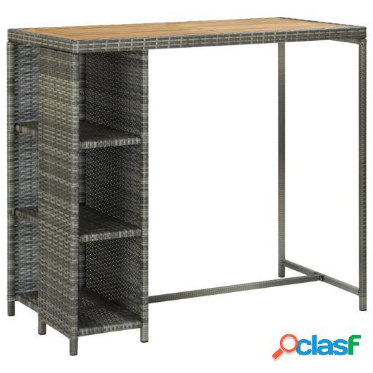 Mesa bar estante almacenaje 120x60x110 cm ratán sintético
