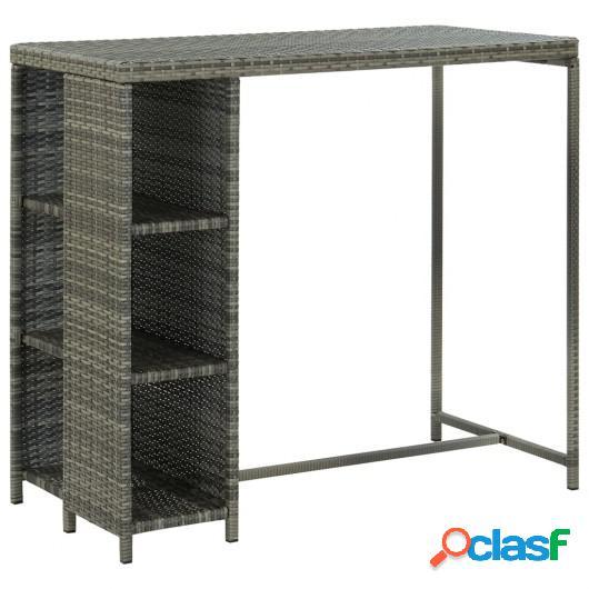 Mesa bar estante almacenaje 120x60x110cm ratán sintético