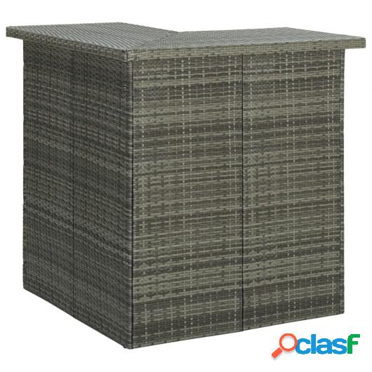 Mesa de bar de esquina gris ratán sintético 100x50x105 cm