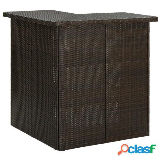 Mesa de bar de esquina marrón ratán sintético 100x50x105