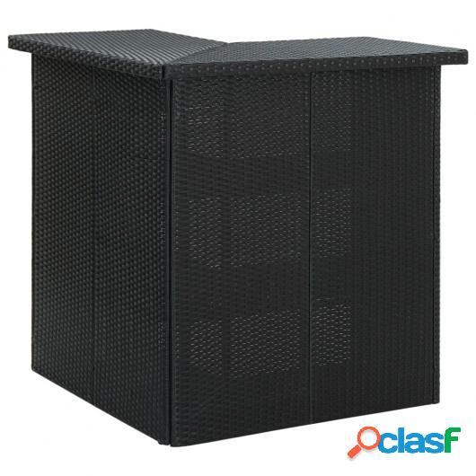 Mesa de bar de esquina negro ratán sintético 100x50x105 cm