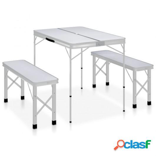 Mesa de camping plegable con 2 bancos aluminio blanco