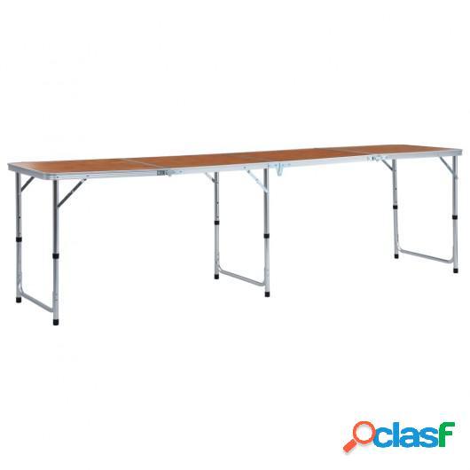 Mesa de camping plegable de aluminio 240x60 cm