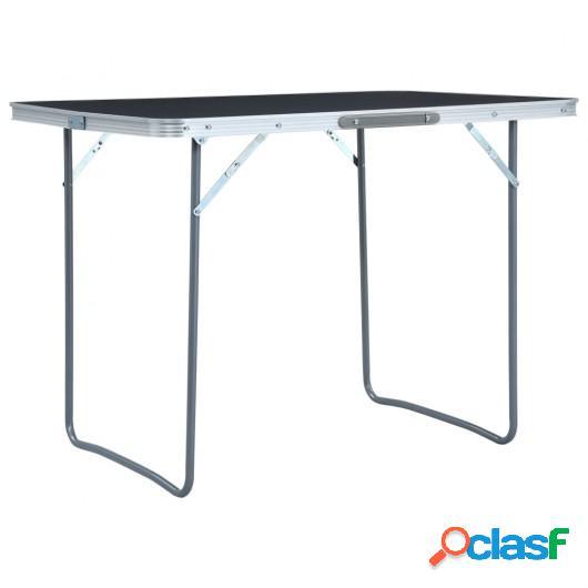 Mesa de camping plegable de aluminio gris 120x60 cm
