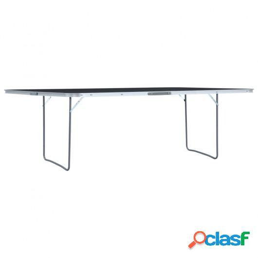 Mesa de camping plegable de aluminio gris 240x60 cm