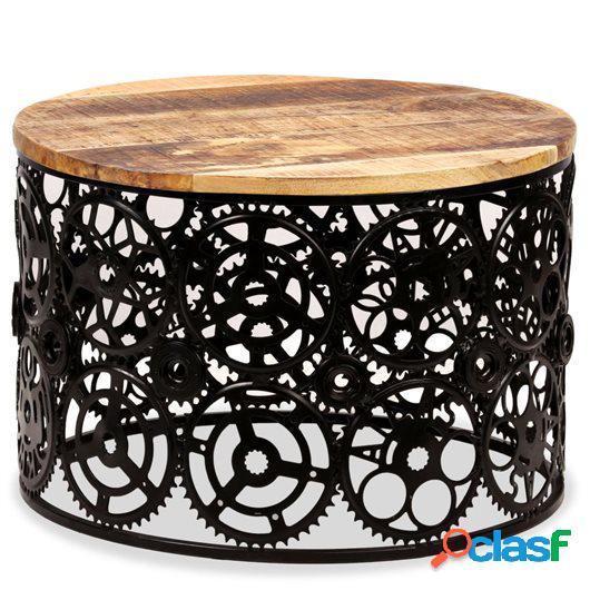 Mesa de centro de madera de mango maciza 60x40 cm
