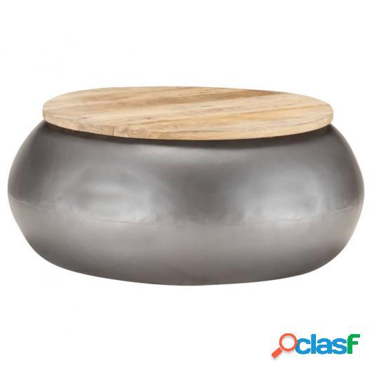 Mesa de centro de madera de mango maciza gris 68x68x30 cm