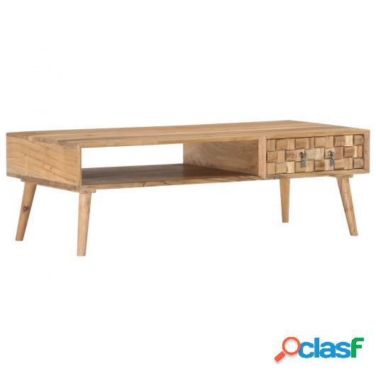 Mesa de centro de madera maciza de acacia 110x50x35 cm