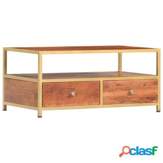 Mesa de centro de madera maciza de acacia 90x50x40 cm