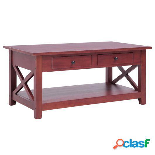 Mesa de centro de madera maciza de caoba marrón 100x55x46