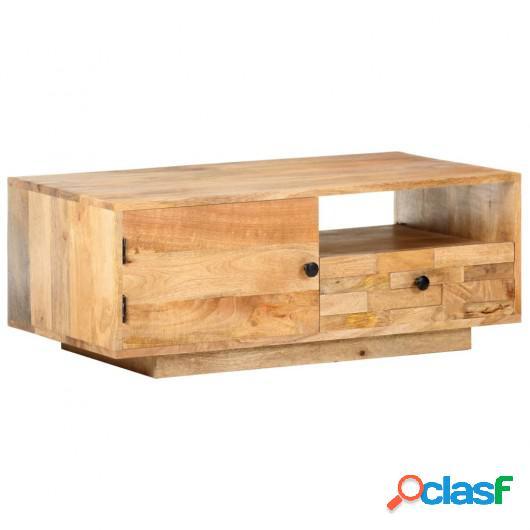 Mesa de centro de madera maciza de mango 90x50x35 cm