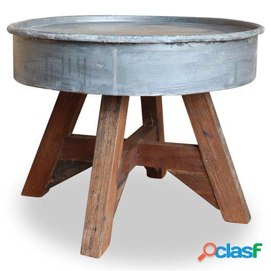 Mesa de centro de madera maciza reciclada 60x45 cm plateada
