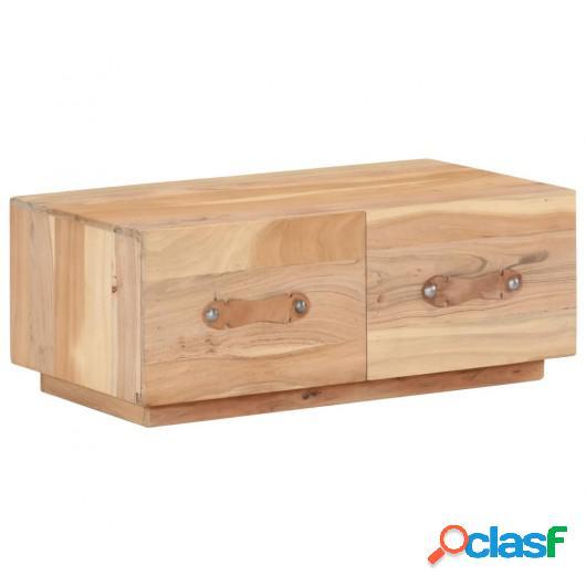 Mesa de centro de madera maciza reciclada 90x50x35 cm