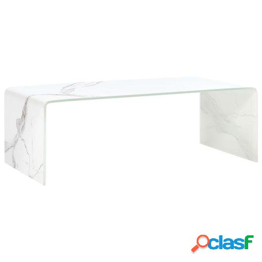 Mesa de centro de vidrio templado blanco mármol 98x45x31 cm