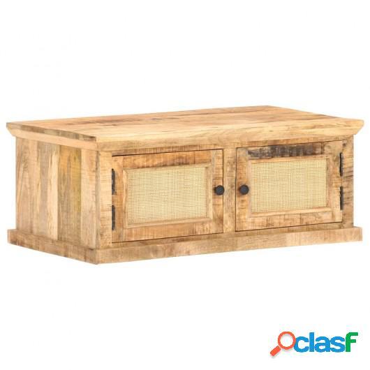 Mesa de centro madera maciza de mango caña natural 90x50x35